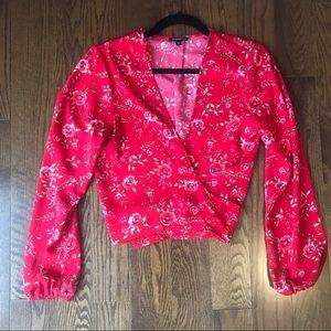 Dynamite red floral wrap top size xs